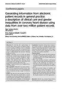 Generating information from electronic patient records in ... - CiteSeerX