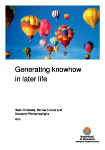 Generating knowhow in later life - National Financial Literacy Strategy