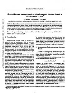 Generation and measurement of sub-picosecond electron bunch in ...
