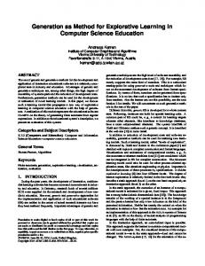 Generation as Method for Explorative Learning in Computer Science ...