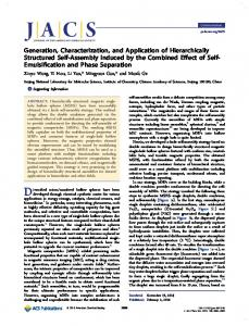 Generation, Characterization, and Application of ... - ACS Publications