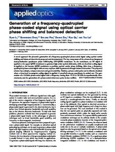Generation of a frequency-quadrupled phase-coded ... - OSA Publishing
