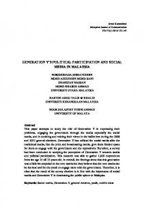 Generation y's political participation and social media in Malaysia ...