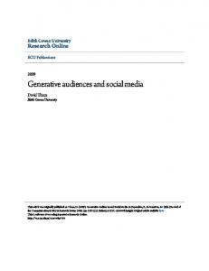 Generative audiences and social media - Research Online - Edith ...