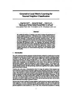 Generative Local Metric Learning for Nearest Neighbor ... - CiteSeerX