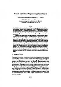 Generic and Indexed Programming - Department of Computer Science ...