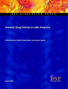 Generic Drug Policies in Latin America - CiteSeerX