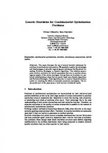 Generic Heuristics for Combinatorial Optimization ... - Semantic Scholar