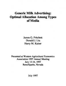 Generic Milk Advertising: Optimal Allocation Among ... - AgEcon Search