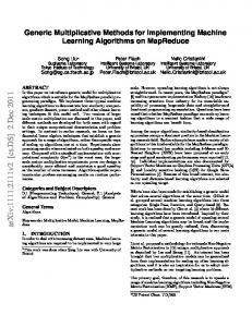 Generic Multiplicative Methods for Implementing Machine Learning ...
