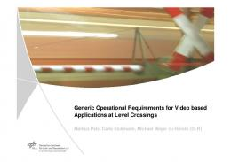 Generic Operational Requirements for Video based ... - DLR ELIB