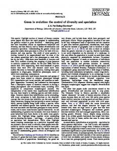 Genes in evolution: the control of diversity and ... - Oxford Journals
