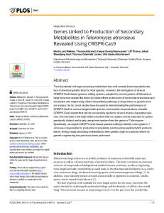 Genes Linked to Production of Secondary Metabolites in ... - PLOS