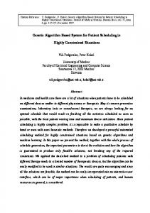 Genetic Algorithm Based System for Patient Scheduling in ... - CiteSeerX