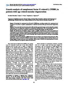 Genetic analysis of complement factor H related 5 ... - Molecular Vision