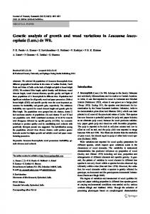 Genetic analysis of growth and wood variations in ... - Springer Link