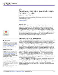 Genetic and epigenetic engines of diversity in pathogenic ... - PLOS