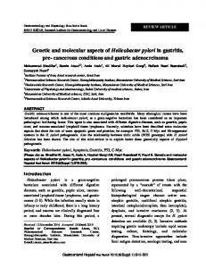 Genetic and molecular aspects of Helicobacter ... - Semantic Scholar