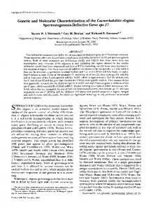 Genetic and Molecular Characterization of the ... - Emory Biology