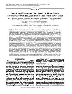 Genetic and Taxonomic Diversity of the House Mouse Mus musculus ...