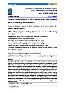 Genetic characterization of local chicken from Taif region in Saudi ...