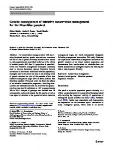 Genetic consequences of intensive conservation ... - Springer Link