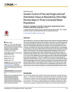 Genetic Control of the Leaf Angle and Leaf ... - Semantic Scholar