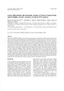 Genetic differentiation and intraspecific structure of ... - CiteSeerX