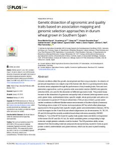Genetic dissection of agronomic and quality traits based on ... - PLOS