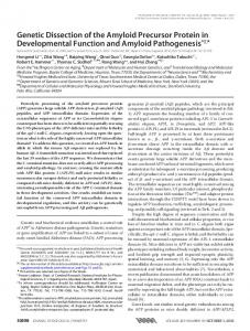 Genetic Dissection of the Amyloid Precursor Protein in Developmental ...