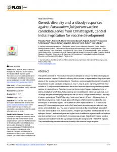 Genetic diversity and antibody responses against Plasmodium ... - PLOS