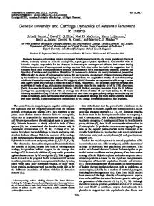 Genetic Diversity and Carriage Dynamics of Neisseria lactamica in ...