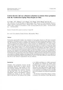 Genetic diversity and core collection evaluations in ... - Springer Link