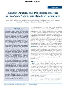 Genetic Diversity and Population Structure of ...
