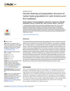 Genetic diversity and population structure of native maize ... - Plos