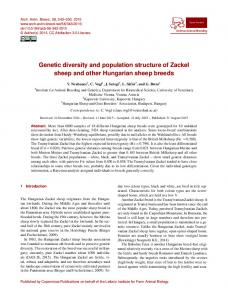 Genetic diversity and population structure of Zackel sheep and other ...