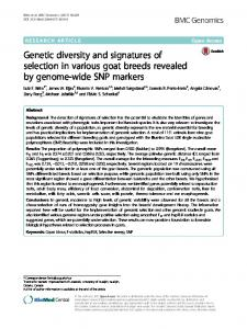 Genetic diversity and signatures of selection in various goat ... - Core