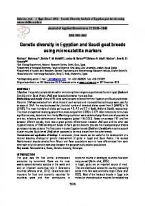 Genetic diversity in Egyptian and Saudi goat breeds using ...