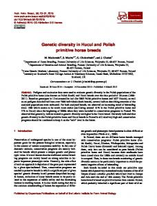 Genetic diversity in Hucul and Polish primitive horse breeds - Core