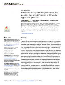 Genetic diversity, infection prevalence, and possible ... - Core