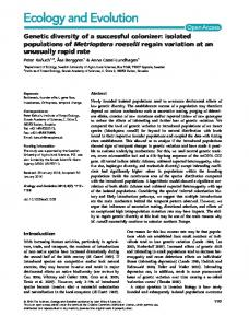 Genetic diversity of a successful colonizer ... - Wiley Online Library