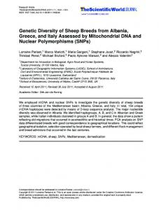 Genetic Diversity of Sheep Breeds from Albania