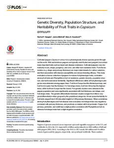 Genetic Diversity, Population Structure, and ... - Semantic Scholar