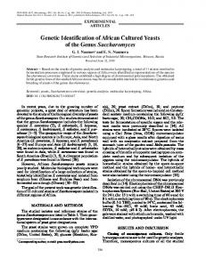 Genetic Identification of African Cultured Yeasts of the ... - Springer Link