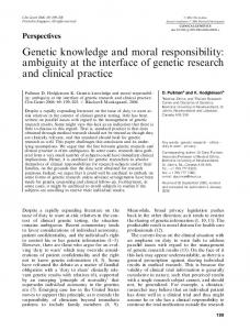 Genetic knowledge and moral responsibility - Canadian SADS ...