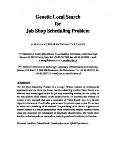 Genetic Local Search for Job Shop Scheduling Problem - CiteSeerX
