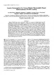 Genetic Polymorphism for Human Platelet Thermostable ... - NCBI