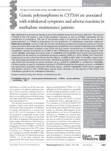 Genetic polymorphisms in CYP3A4 are associated ... - Future Medicine