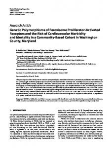 Genetic Polymorphisms of Peroxisome Proliferator ... - CiteSeerX