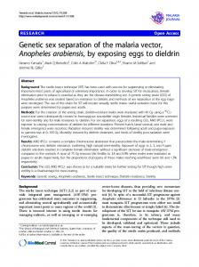 Genetic sex separation of the malaria vector, Anopheles ... - Core